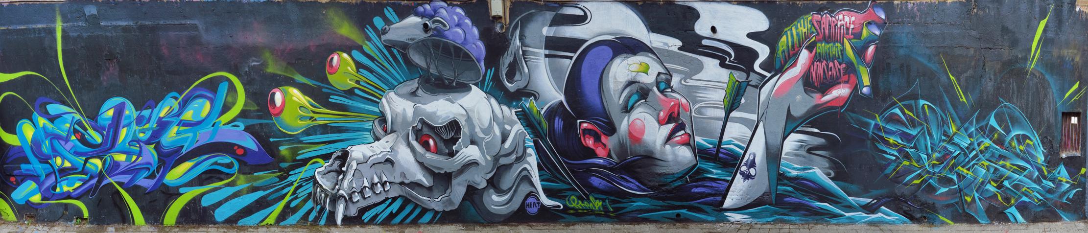 Arte urbano en barcelona mural colectivo for Arte colectivo mural