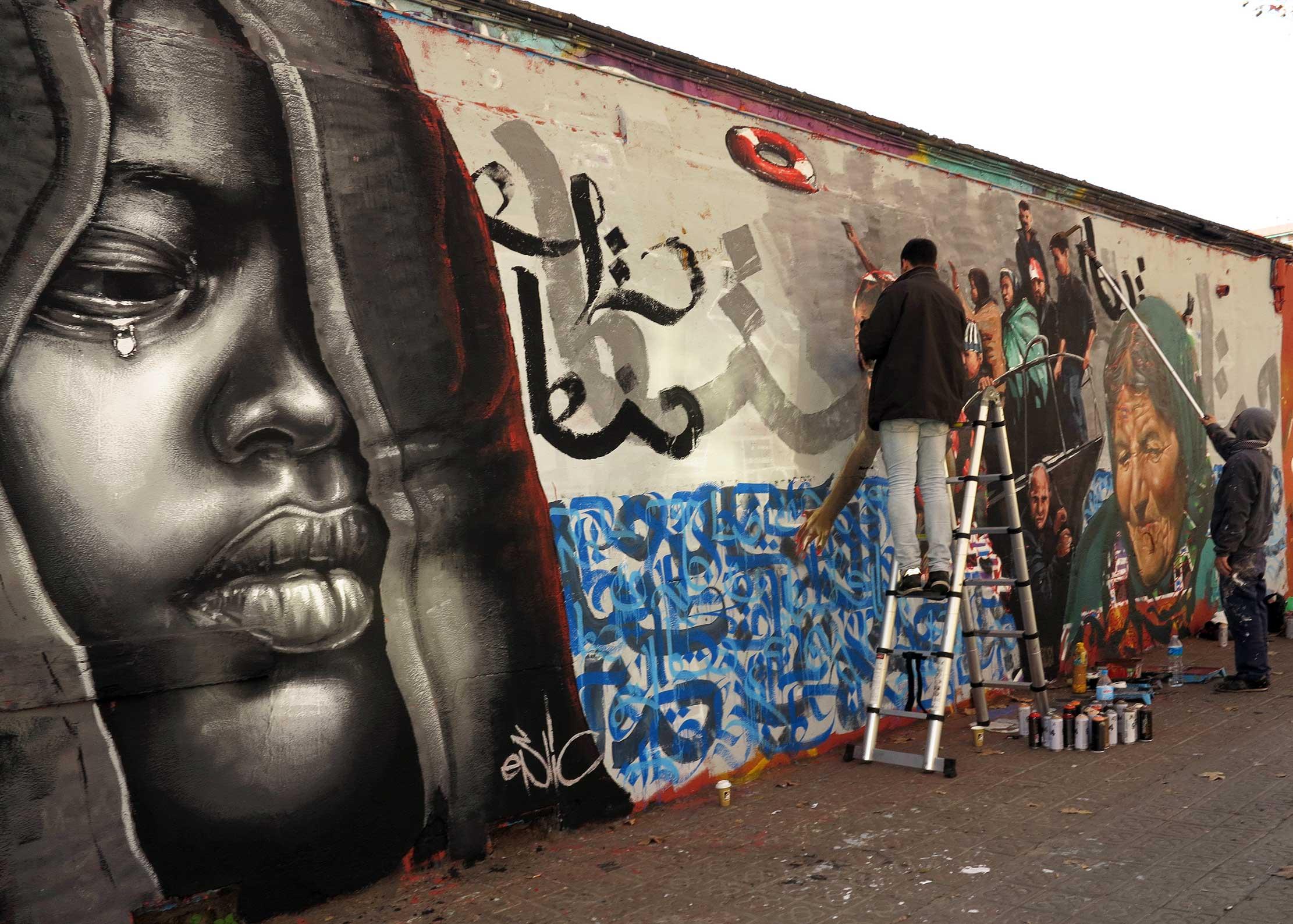 Mural colectivo una denuncia por lo que ocurre con los for Arte colectivo mural