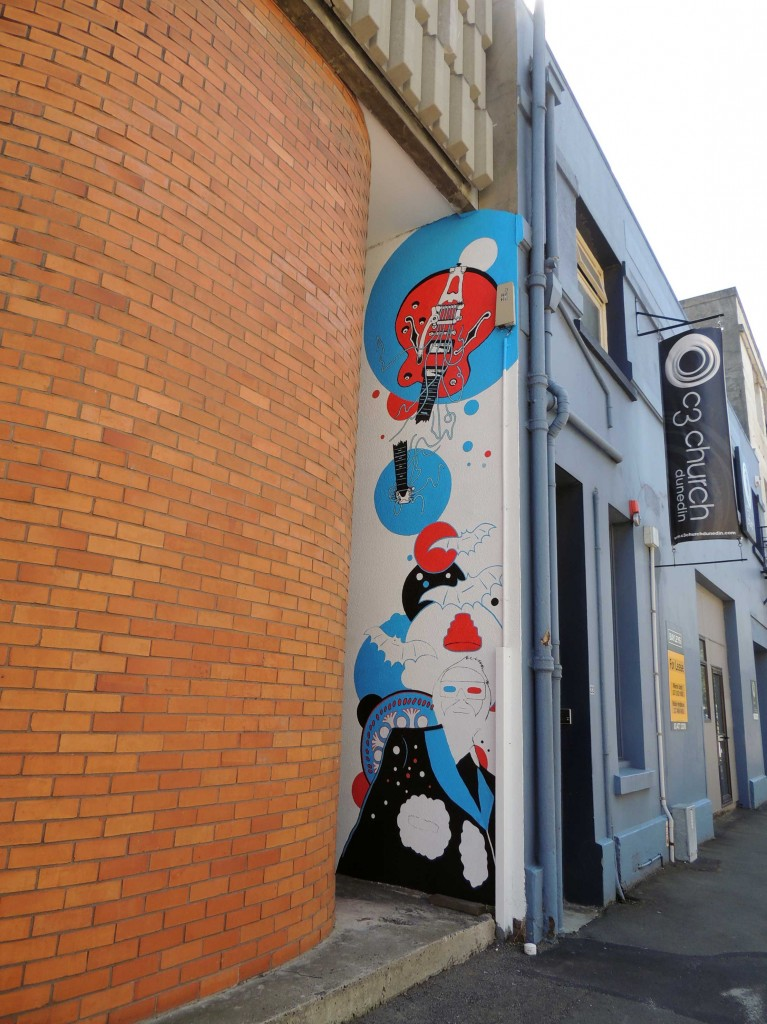 Andy McCready, arte urbano, Dunedin, digerible