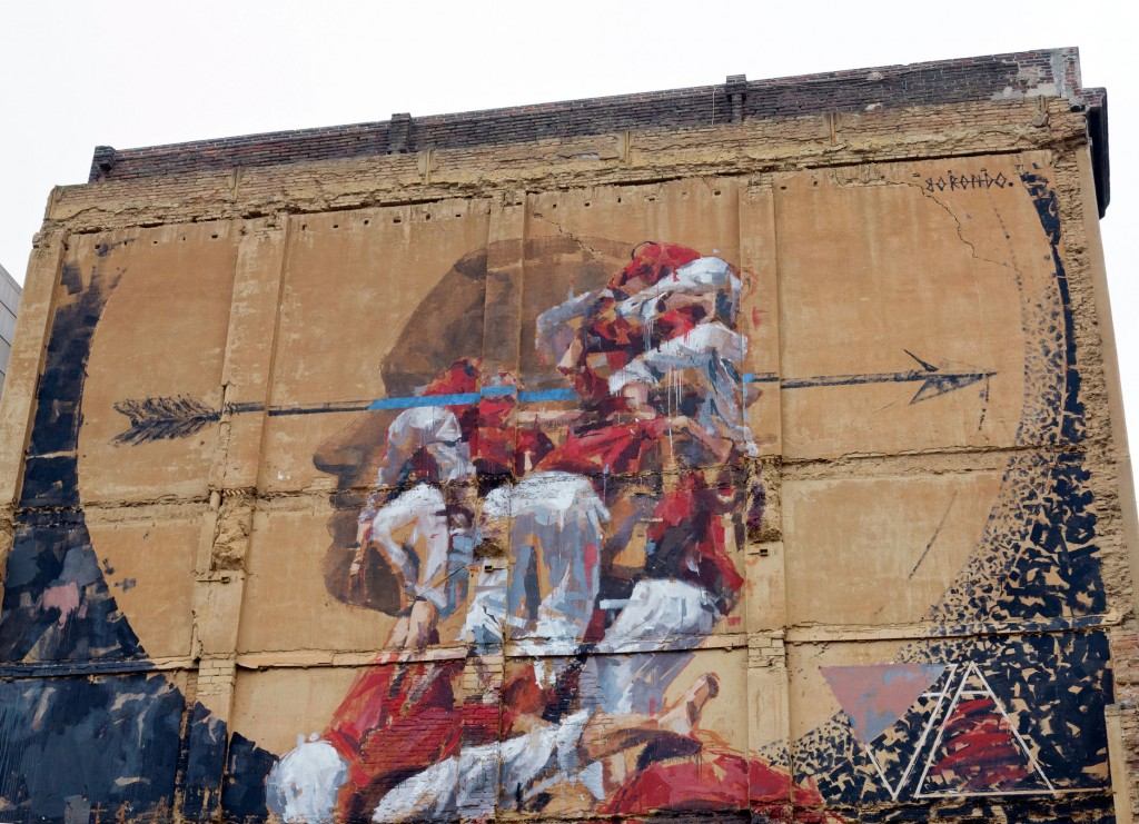 Borondo arte urbano en Barcelona