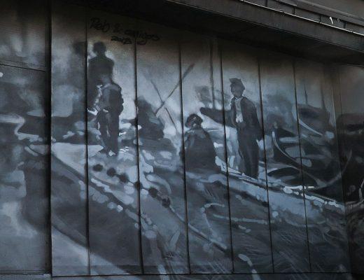 Arte urbano de Vassilis Rebelos, mercado de la Barceloneta