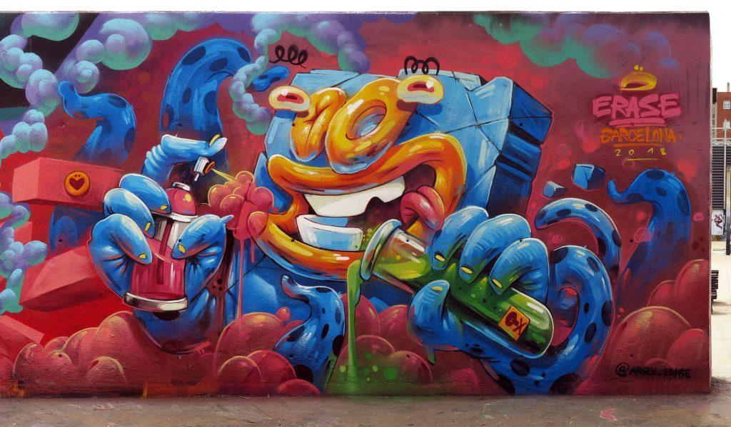 Arte urbano Cristian Blanxer, Saturno, Arsek & Erase en Barcelona