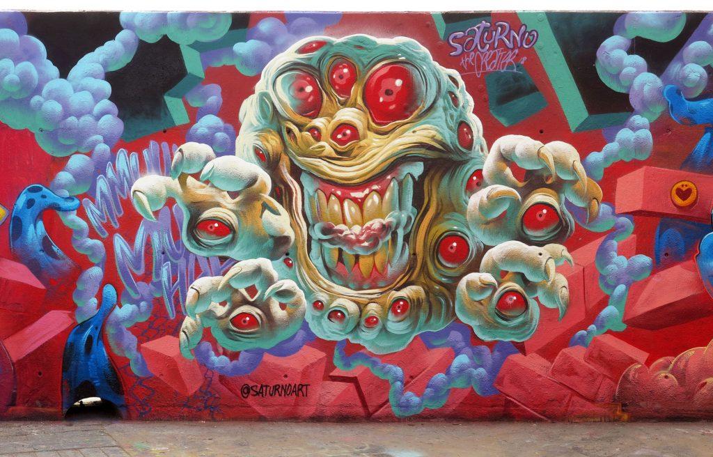 Arte urbano Cristian Blanxer, Saturno, Arsek & Erase en BarcelonaArte urbano Cristian Blanxer, Saturno, Arsek & Erase en Barcelona