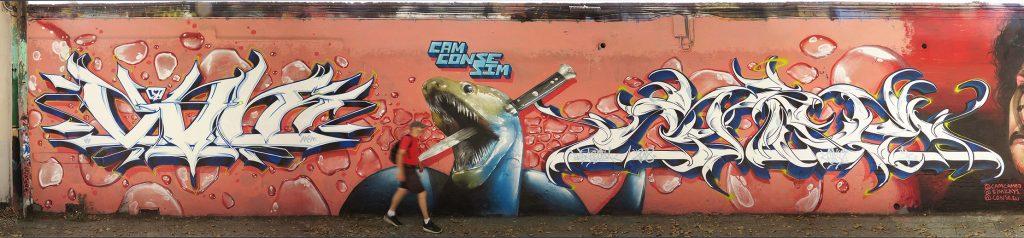 Arte urbano de CamCamej, Conse y SimOne, Barcelona