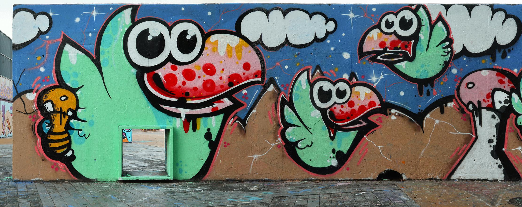 arte urbano seta pájaro Barcelona