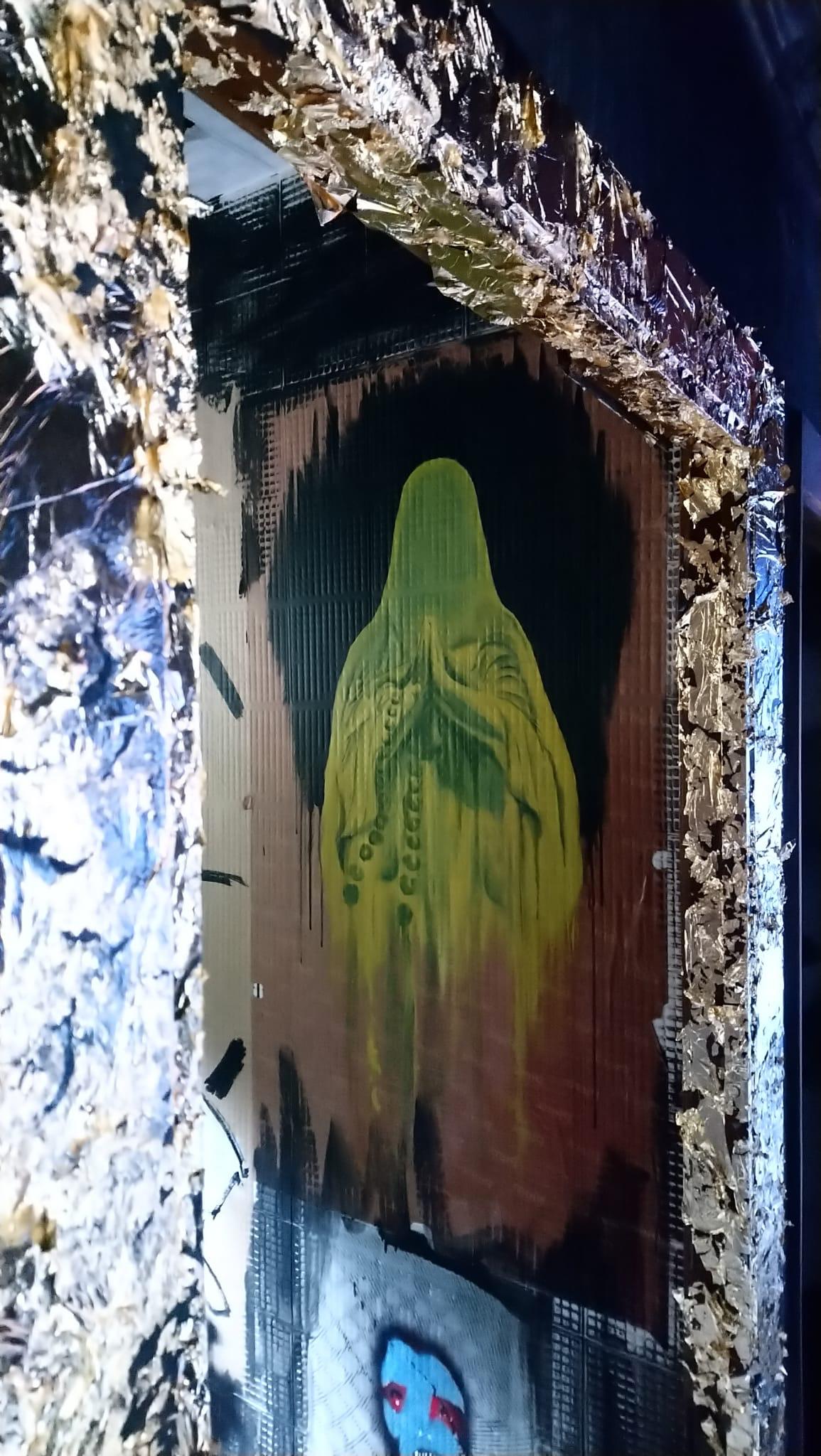 arte urbano galería abandonada SM172, Isable Rabassa, Papa urbano x