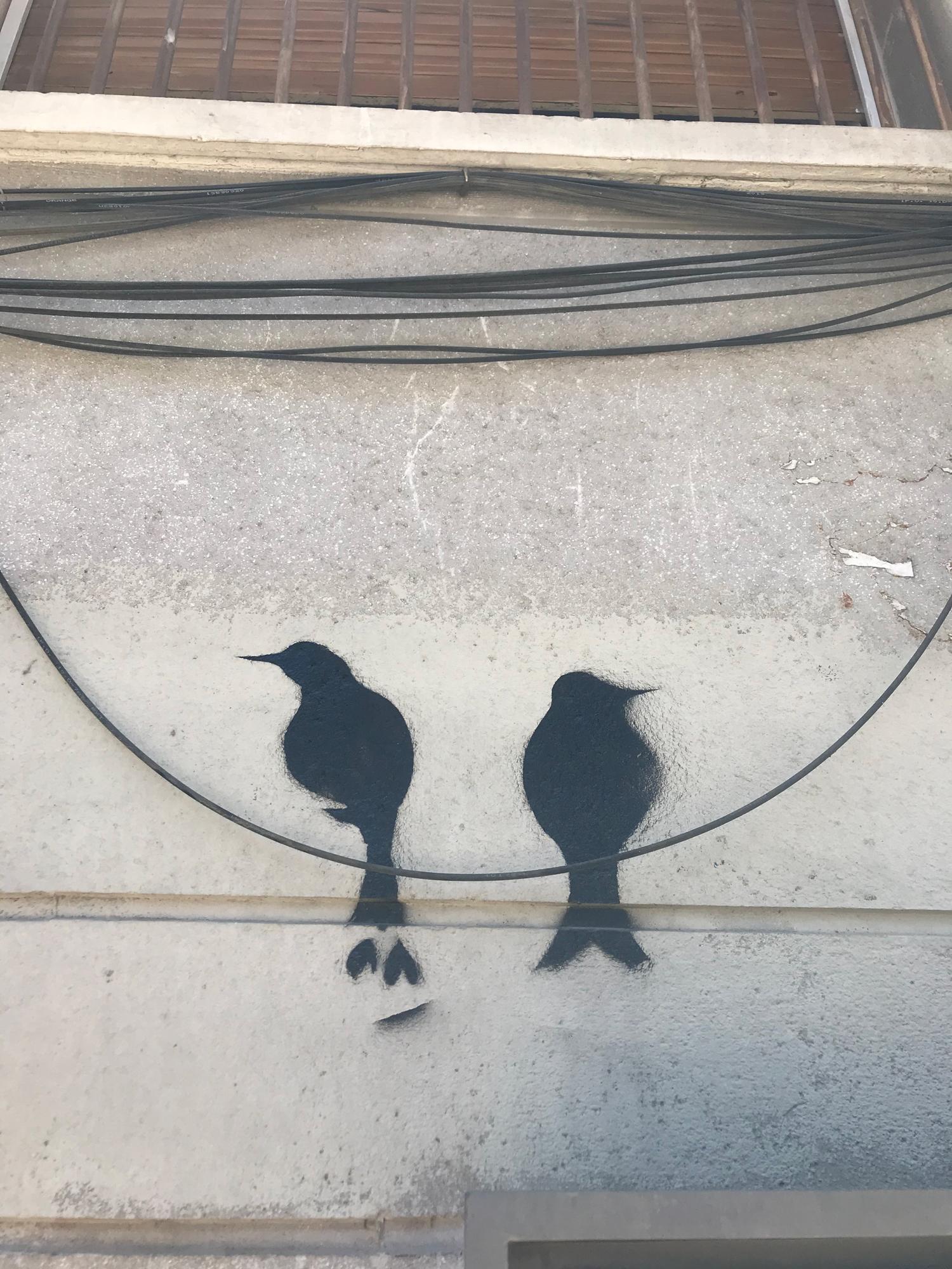 Arte urbano pájaros Barcelona