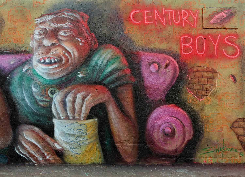 arte urbano Sebastien Waknine y Simón Vázquez tres chimeneas barcelona