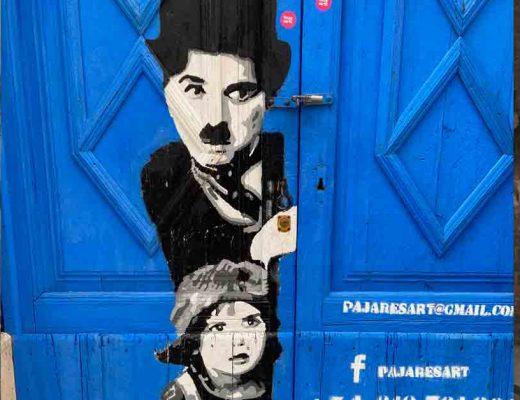arte urbano Sitges the kid Charlie Chaplin