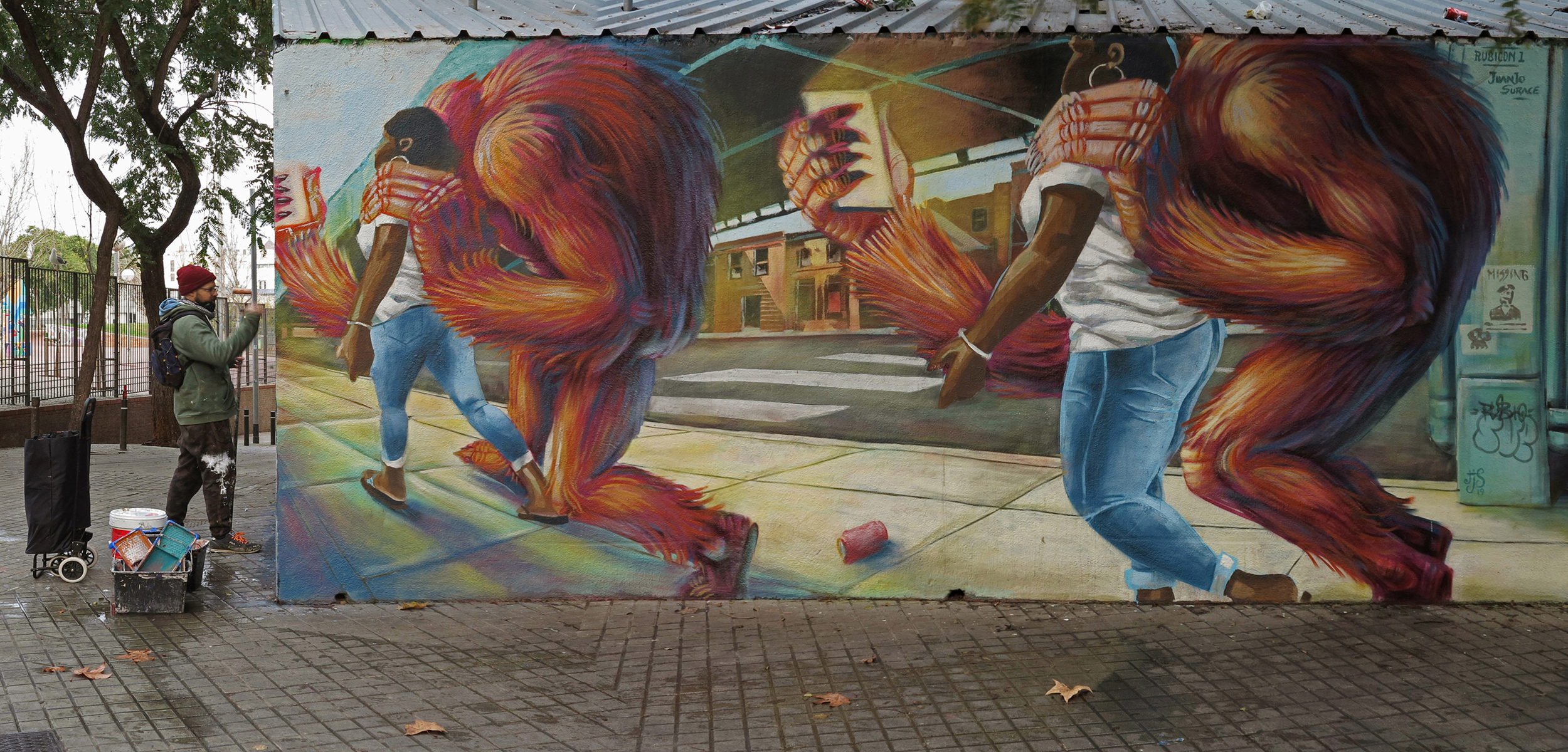 Arte urbano Juanjo Surace & Ru8icon1 Barcelona